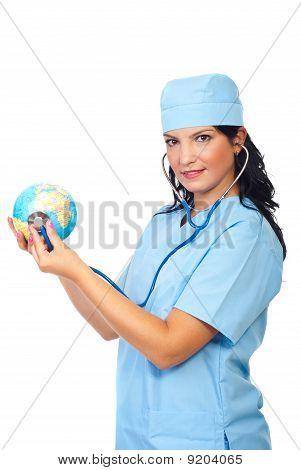 Doctor Woman Examine Globe