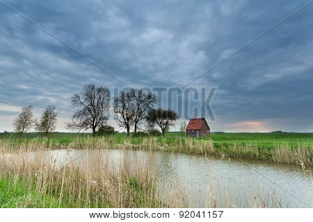 Little House On Meadow By River