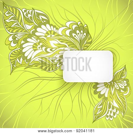 Rectangular frame with doodle flowers in green