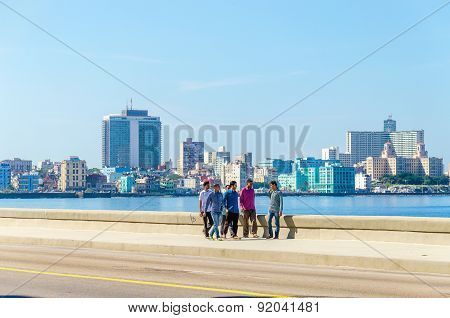 Havana Malecon - view of the Centre and Vedado