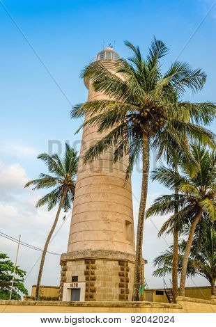 Stone tower and palm trees on the beach