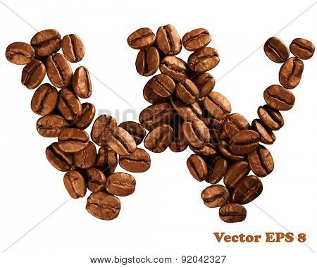 Coffee alphabet letter, vector illustration EPS 8.