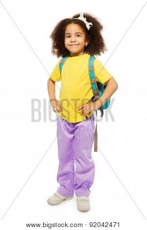 Full length view of African girl with rucksack