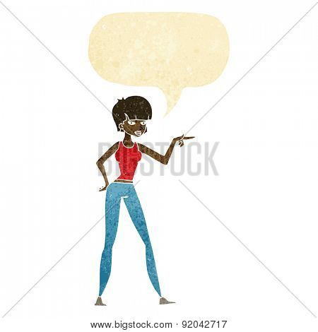 cartoon woman pointing with speech bubble