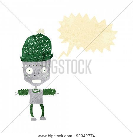 cartoon robot wearing hat with speech bubble