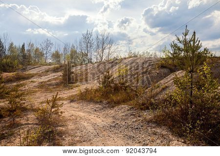 Abandoned mine - damaged landscape after mining