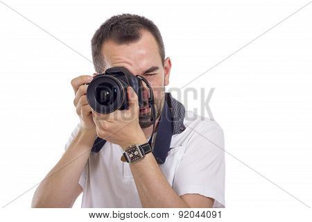 Young Photographer Isolated On White