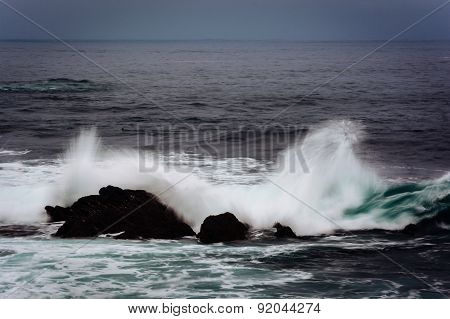 Waves And Rocks In The Pacific Ocean, In Pacific Grove, California.
