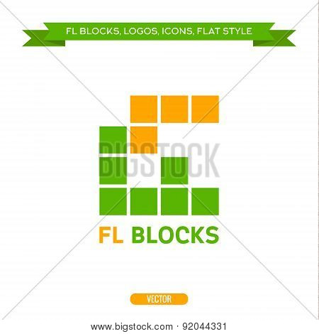 Logo letter FL in the form of blocks and cubes