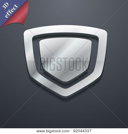 Shield Icon Symbol. 3D Style. Trendy, Modern Design With Space For Your Text Vector