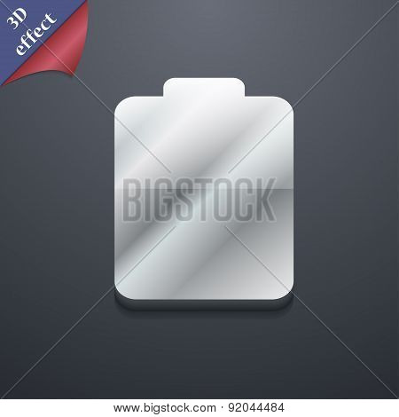 Battery Empty, Low Electricity Icon Symbol. 3D Style. Trendy, Modern Design With Space For Your Text