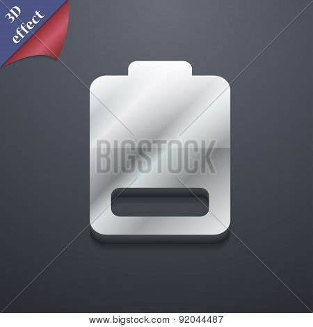 Battery Low Level, Electricity Icon Symbol. 3D Style. Trendy, Modern Design With Space For Your Text