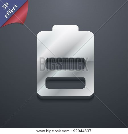 Battery Half Level, Low Electricity Icon Symbol. 3D Style. Trendy, Modern Design With Space For Your