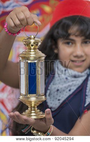Happy Young Girl Holding Lantern Celebrating Ramadan