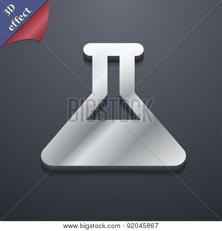 Conical Flask Icon Symbol. 3D Style. Trendy, Modern Design With Space For Your Text Vector
