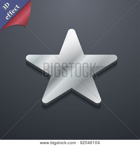 Favorite Star Icon Symbol. 3D Style. Trendy, Modern Design With Space For Your Text Vector