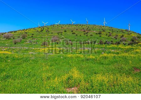 Legendary Golan Heights. Number of picturesque windmills on top of the hill