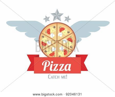Logotype Of Pizza With Wings