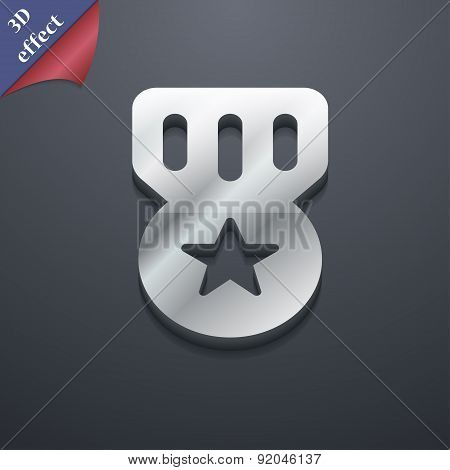 Award, Medal Of Honor Icon Symbol. 3D Style. Trendy, Modern Design With Space For Your Text Vector
