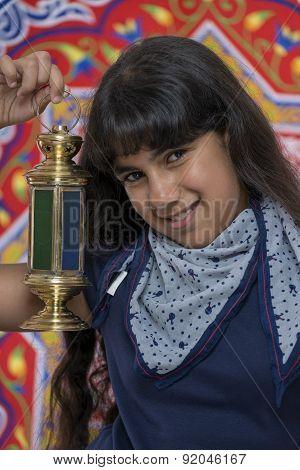 Happy Beautiful Girl With Lantern Celebrating Ramadan