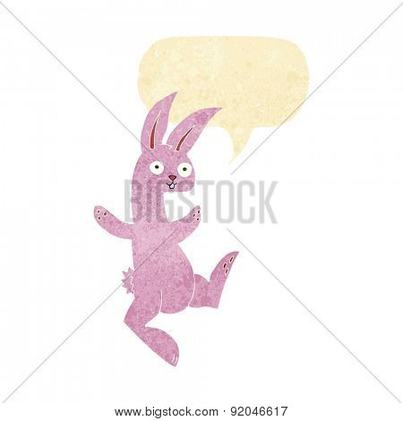 funny cartoon pink rabbit with speech bubble