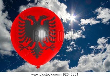 Balloon With Flag Of Albania On Sky