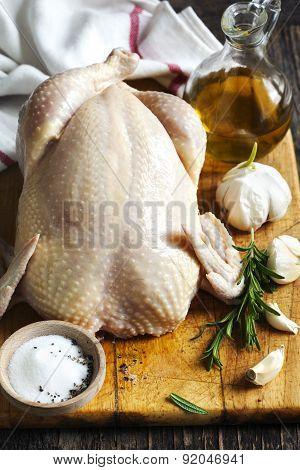 Raw Chicken. Preparation For Baking Garlic Chicken