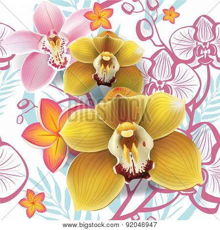 Seamless floral pattern with yellow orchid