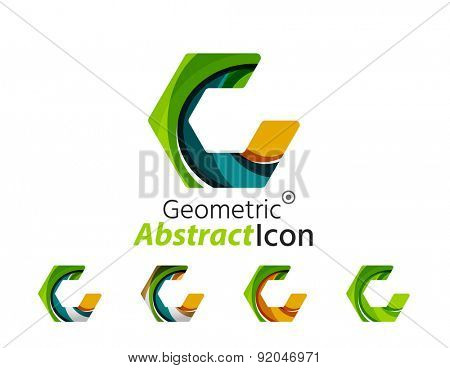 Set of abstract geometric company logo hexagon shapes. Vector illustration of universal shape concept made of various wave overlapping elements