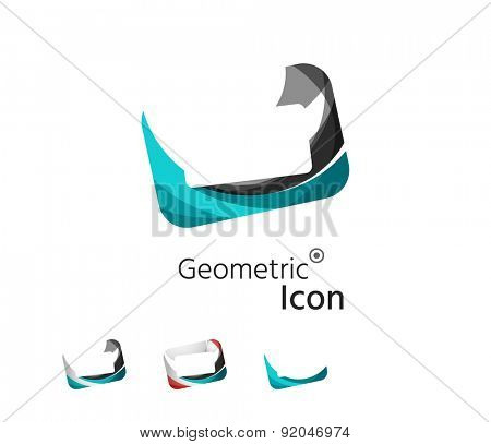 Set of abstract geometric company logo frames, screens. Vector illustration of universal shape concept made of various wave overlapping elements