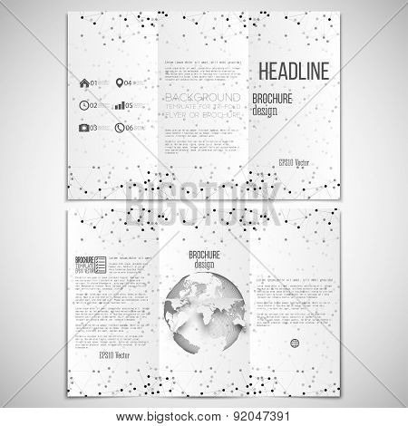Vector set of tri-fold brochure design template on both sides with world globe element. Molecular bl