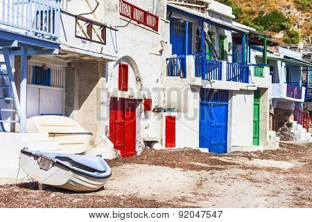 traditional fishing village Klima, Milos island