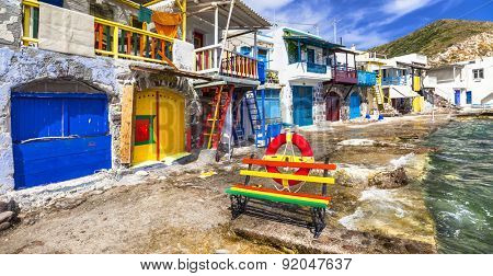 colors of Greece - traditional fishing village Klima, Milos isla
