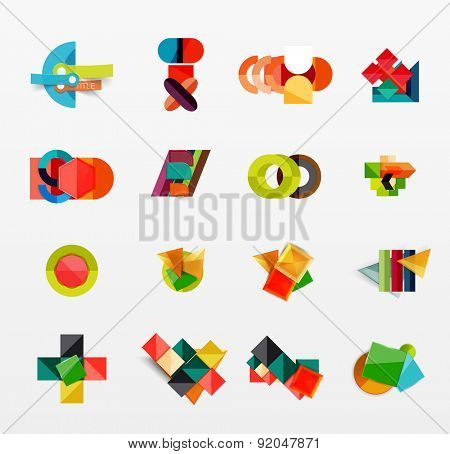 Collection of modern business infographic templates made of abstract geometric shapes. Option banners set