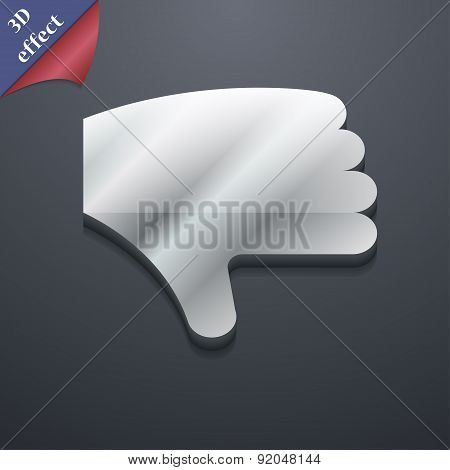 Dislike, Thumb Down, Hand Finger Down Icon Symbol. 3D Style. Trendy, Modern Design With Space For Yo