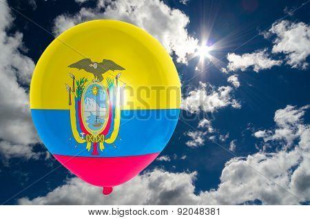 Balloon With Flag Of Ecuador  On Sky