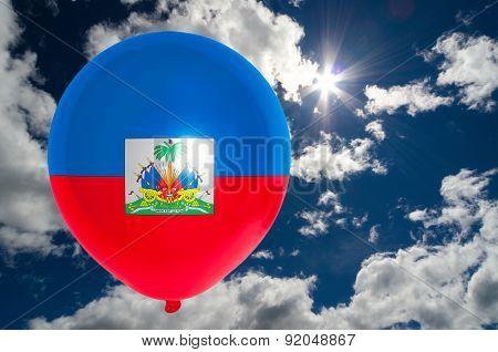 Balloon With Flag Of Haiti On Sky