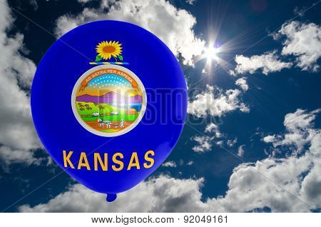Balloon With Flag Of Kansas On Sky