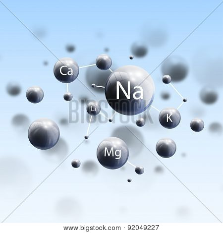 Three dimensional glowing spheres, blue background. Abstract molecules design of metals. Scientific
