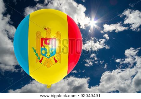 Balloon With Flag Of Moldova On Sky
