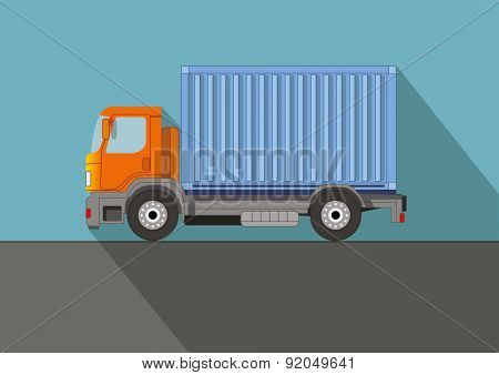 Truck on the road. Flat vector illustration.