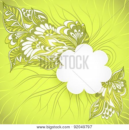 Flowers  frame with doodle flowers in green