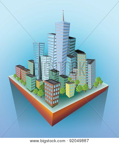 Skyscrapers on the  flying island. Vector illustration.