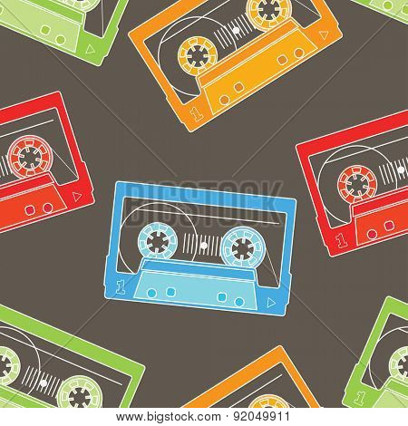 Colored Tapes Seamless Background. Vector illustration. Line Style