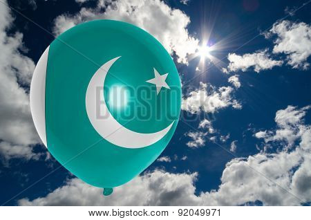 Balloon With Flag Of Pakistan On Sky