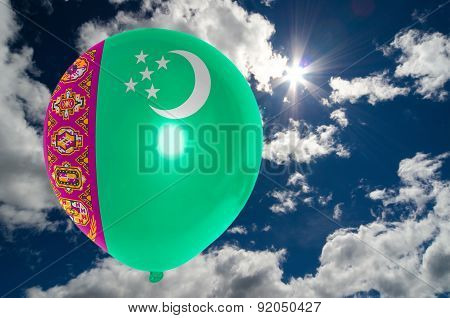 Balloon With Flag Of Turkmenistan On Sky