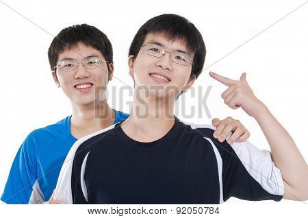 Two asian young casual men