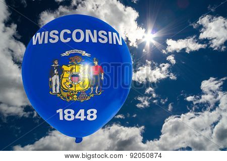 Balloon With Flag Of Wisconsin On Sky