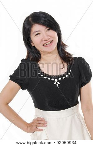 pretty woman posing on white background