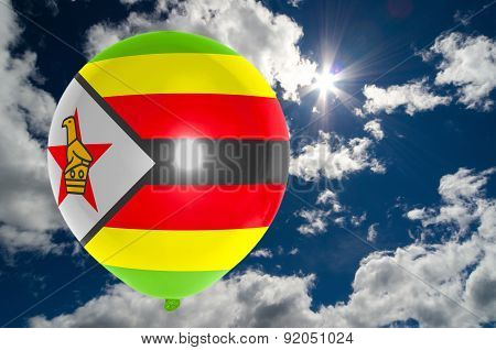 Balloon With Flag Of Zimbabwe On Sky